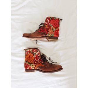 Handmade Floral Leather Lace-Up Boots by Teysha
